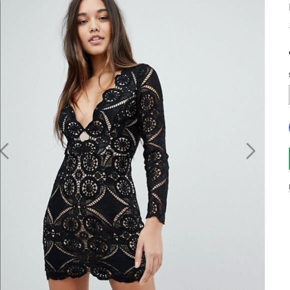 Asos Dresses Love Triangle V Neck Mini Dress In All Over Lace